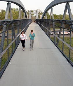 Pedestrians on a foot bridge