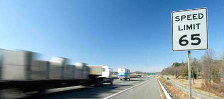 Commercial trucks driving on Interstate 40