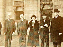 State Highway Commission Chairman Frank Page, far right, and other lead supporters of $50,000,000 highways bond bill outside the Capitol building in Raleigh, 1921 (from Capus Waynick, North Carolina Roads and their Builders)