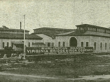 Steel bridge works of Virginia Bridge and Iron Company in Burlington, early 20th century (Durwood Barbour Collection of North Carolina Postcards, UNC-Chapel Hill)