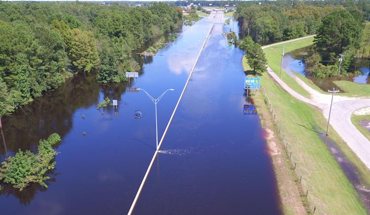 I-95 in Lumberton flooded after Hurricane Florence in 2018