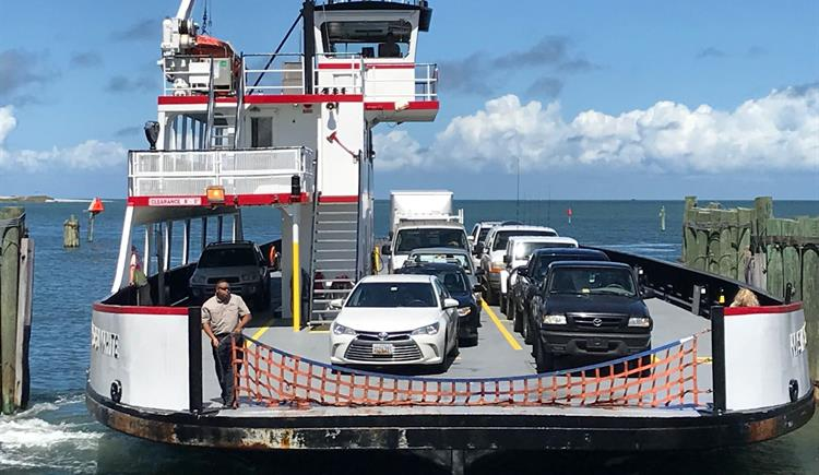 Ferry transports people from Ocracoke Island to Hatteras Island