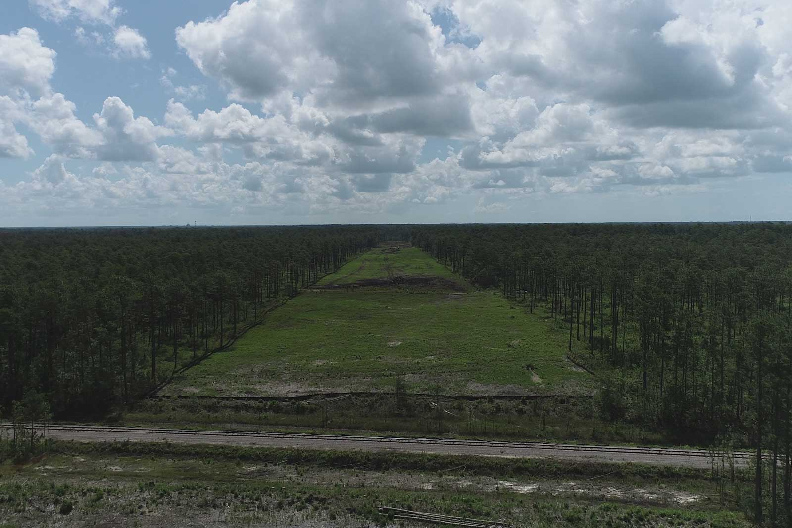 Clearing has been performed at the site of a future bridge over the Camp Lejeune Railroad.