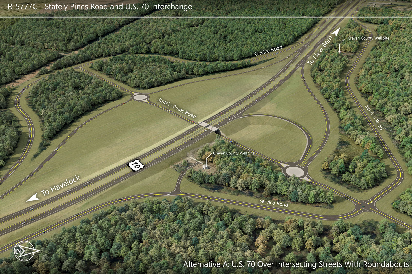 Alternative A — Stately Pines Road and U.S. 70 Interchange