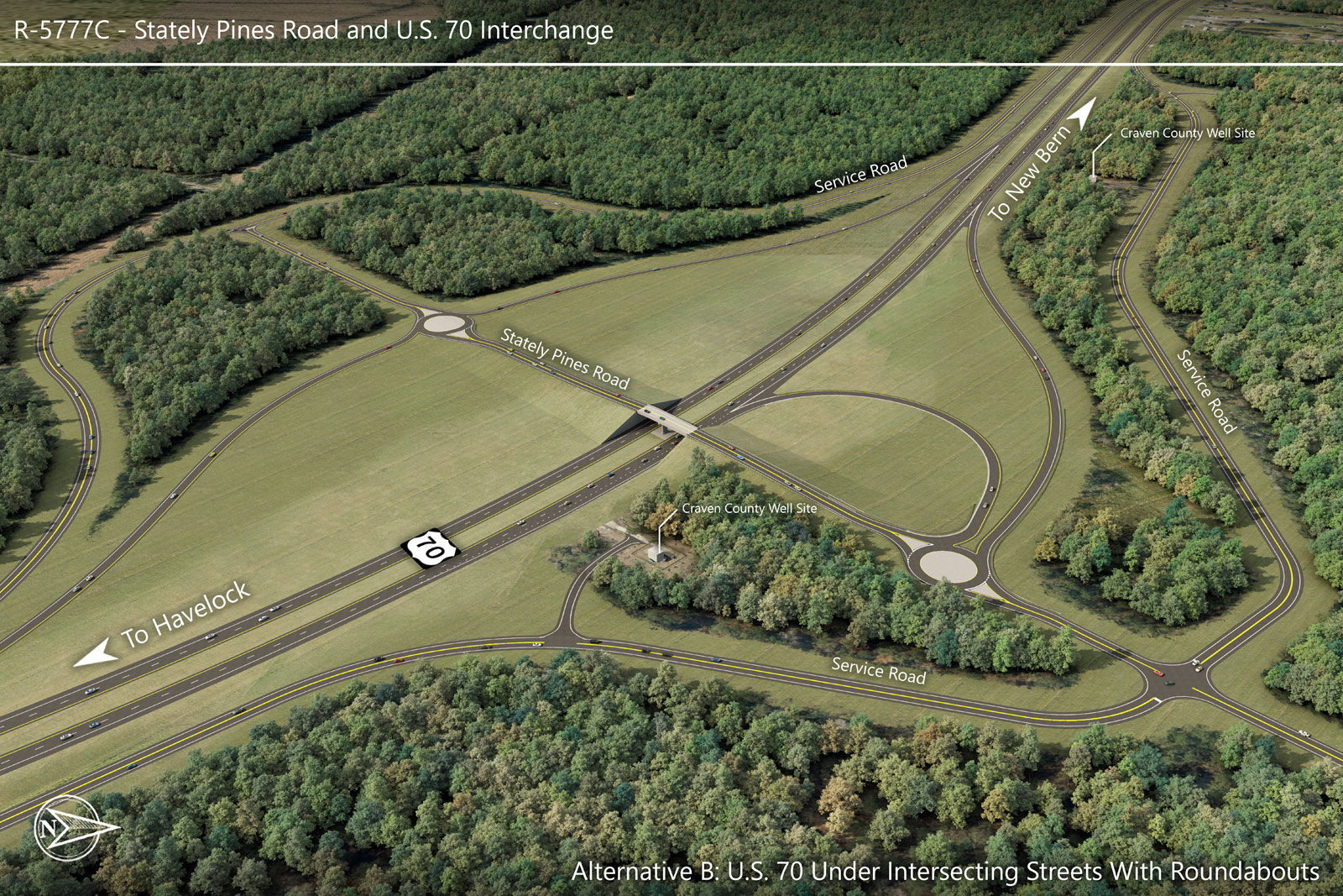 Alternative B — Stately Pines Road and U.S. 70 Interchange